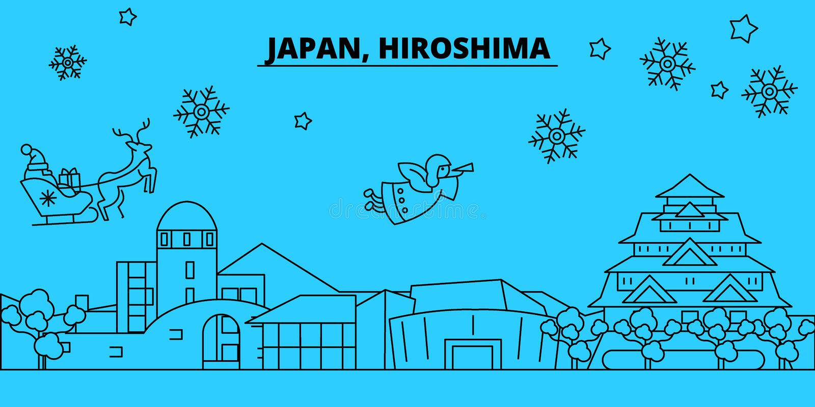 Japan, Hiroshima winter holidays skyline. Merry Christmas, Happy New Year decorated banner with Santa Claus.Japan. Japan, Hiroshima winter holidays skyline vector illustration