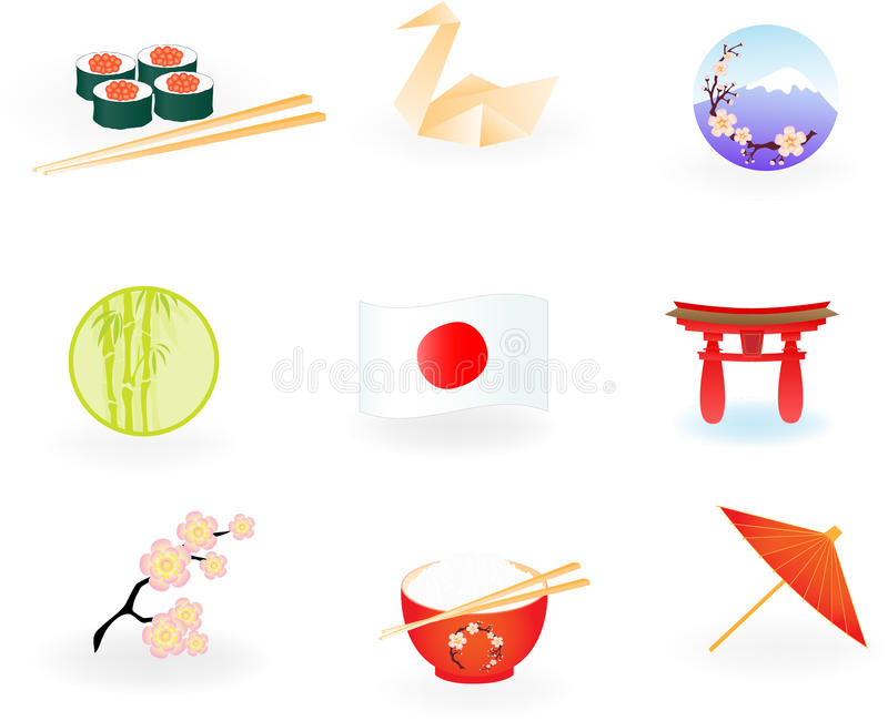 Japan Icons royalty free illustration