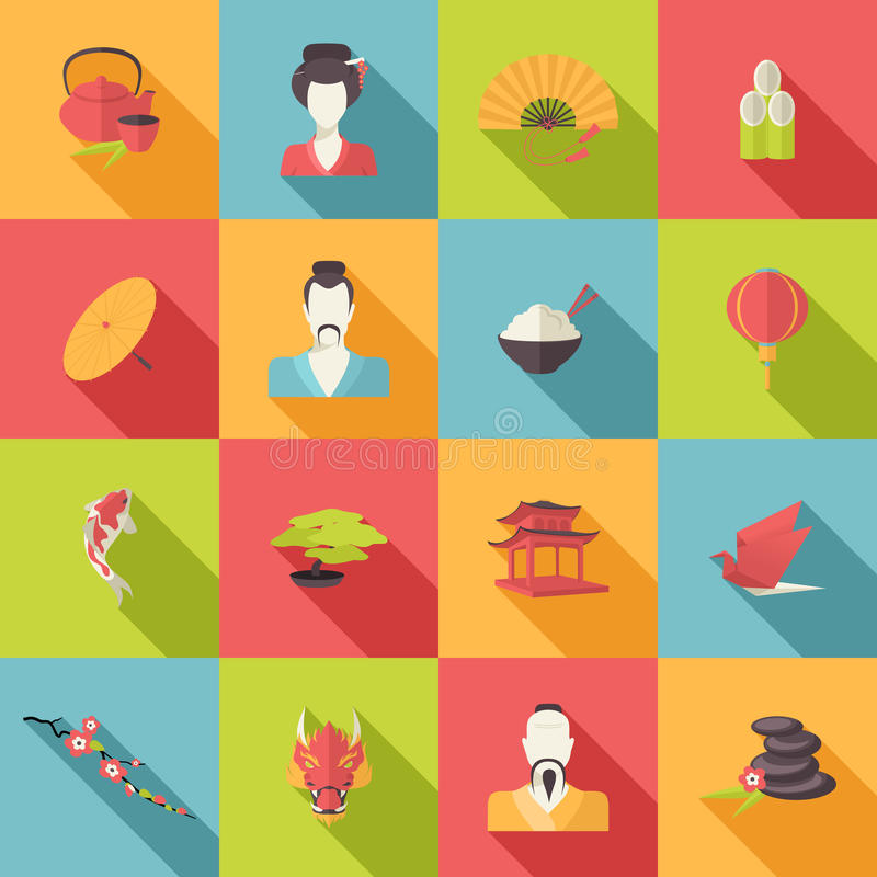 Japan icons flat stock illustration