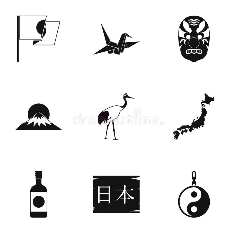 Japan icons set, simple style. Japan icons set. Simple illustration of 9 Japan icons for web stock illustration