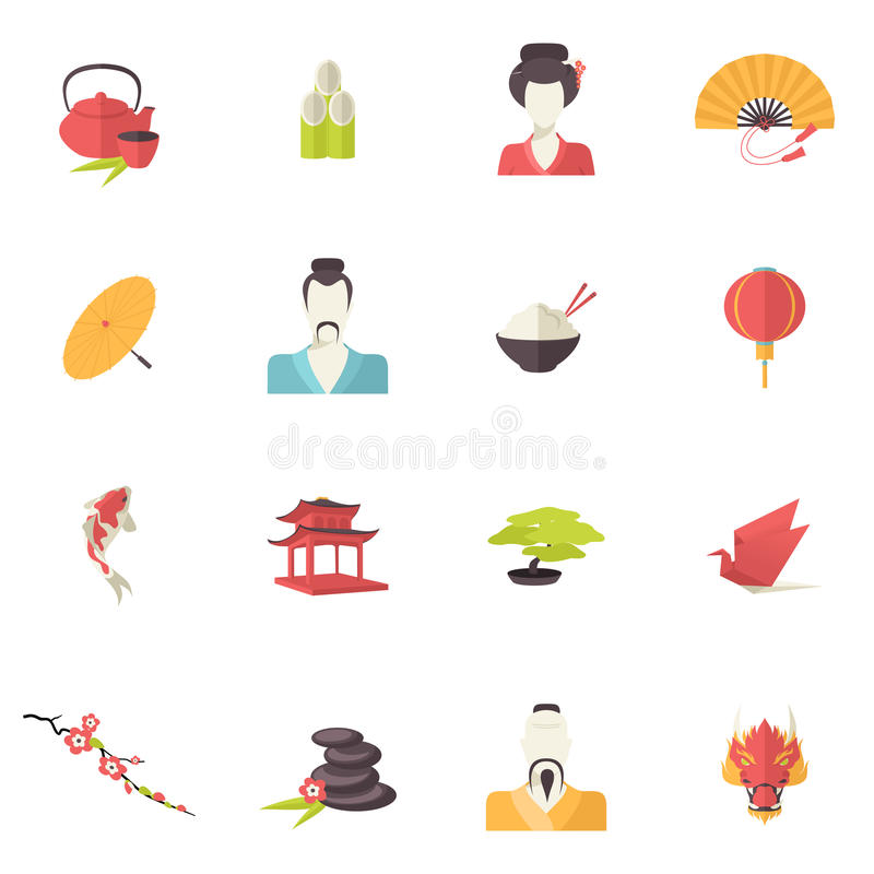 Japan-Ikonen flach stock abbildung
