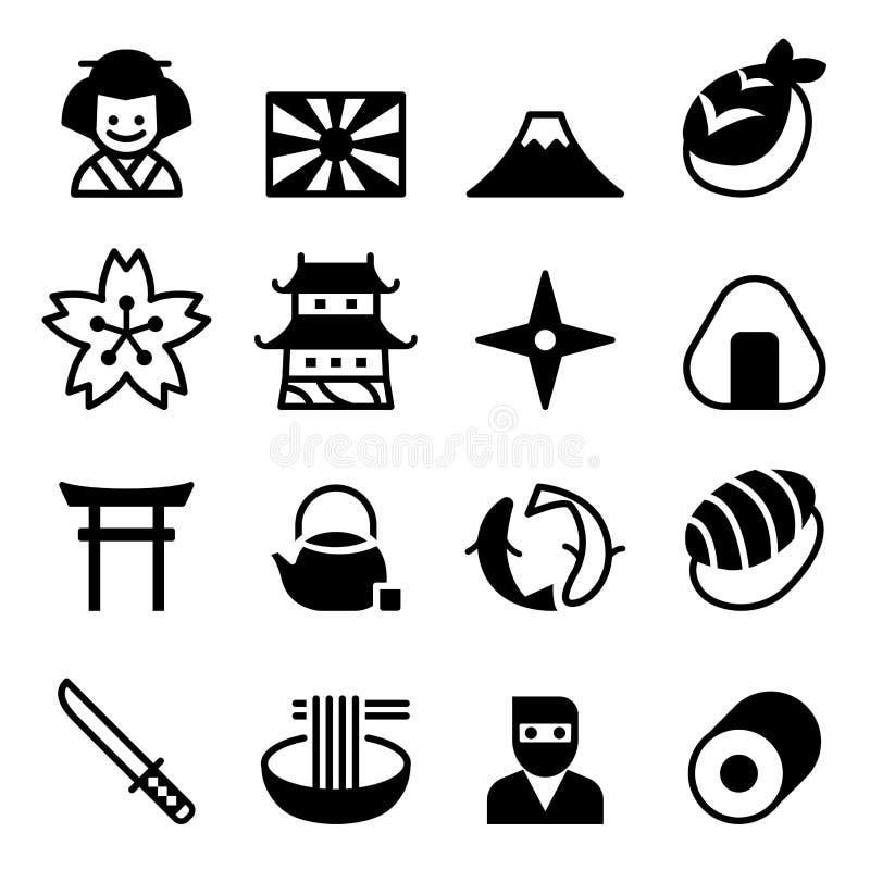 Japan-Ikonen, Vektorsymbol stock abbildung