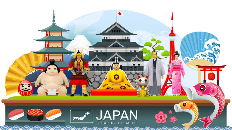 Japan infographic travel place and landmark Vector royalty free illustration