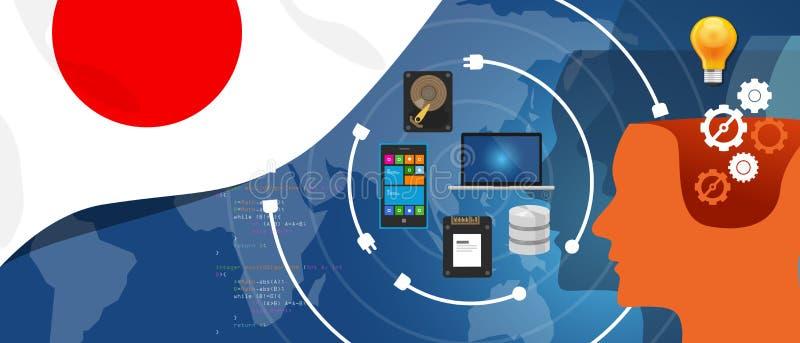 Japan IT information technology digital infrastructure connecting business data via internet network using computer stock illustration