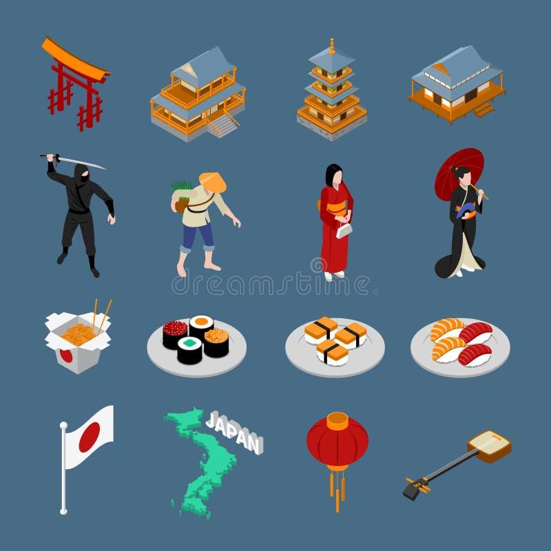 Japan isometrisk Touristic uppsättning royaltyfri illustrationer
