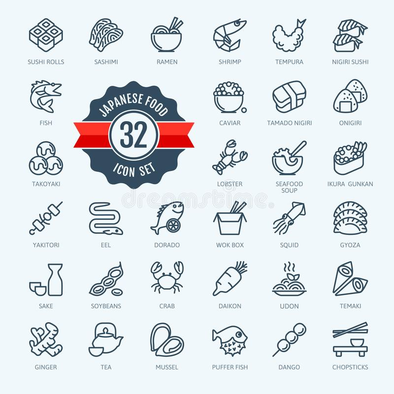 Japan, Japaneze food, Japaneze cuisine - minimal thin line web icon set. Outline icons collection. vector illustration