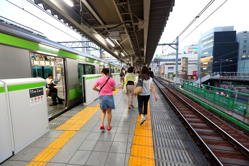 Japan: JR train above ground stock photography