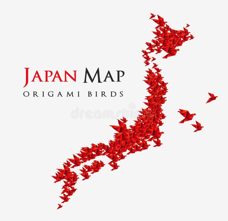 Japan-Karte geformt von den origami Vögeln lizenzfreie abbildung