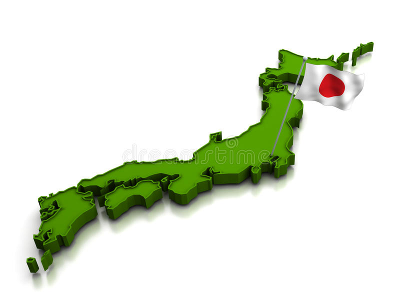 Japan - Karte und Markierungsfahne lizenzfreie abbildung