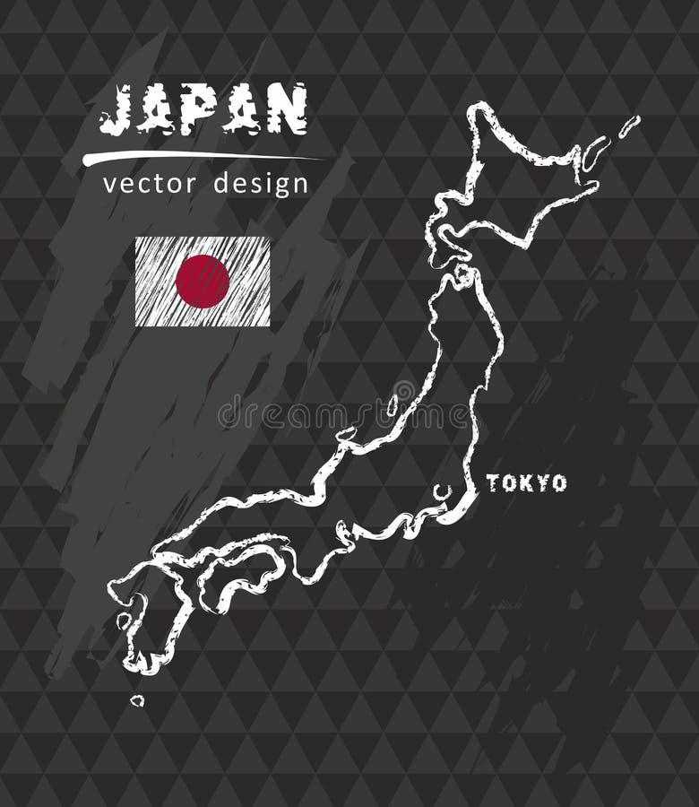 Japan-Karte, Vektorfederzeichnung auf schwarzem Hintergrund stock abbildung