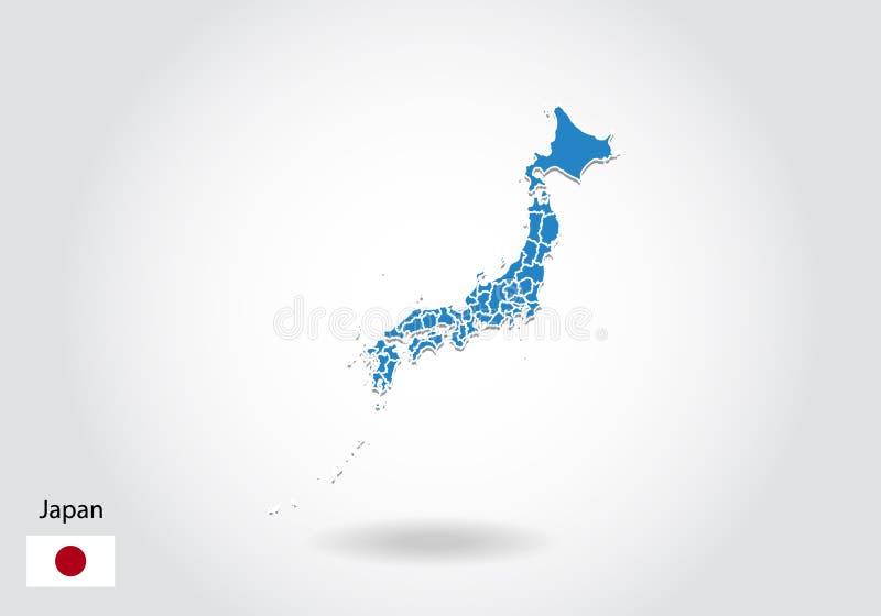 Japan-Kartenentwurf mit Art 3D Blaue Japan-Karte und -Staatsflagge Einfache Vektorkarte mit Kontur, Form, Entwurf, auf weißem vektor abbildung