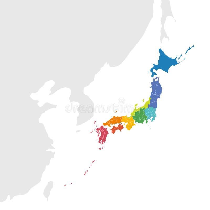Japan-Kartenvektor lizenzfreie abbildung
