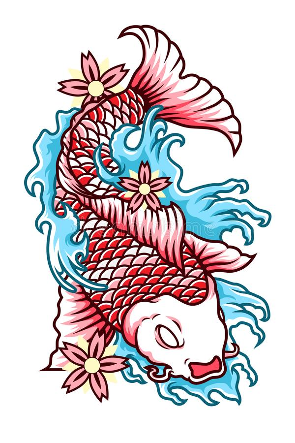 Japan Koi Fish Vector Tattoo Style. Japan Koi Fish Illustration Vector Tattoo Style. Great for clothing, t-shirt design, poster, etc stock illustration