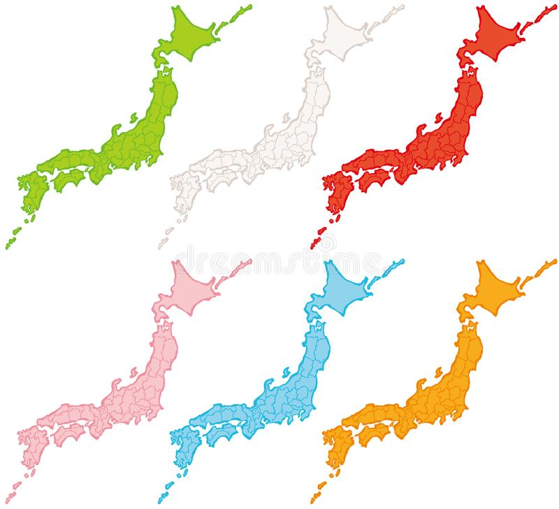 Japan kontynentalna mapy politycznej Japońskie prefektury szczotkarski węgiel drzewny rysunek rysujący ręki ilustracyjny ilustrat royalty ilustracja