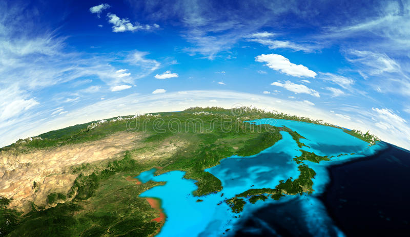 Japan and Korea landscape from space stock illustration