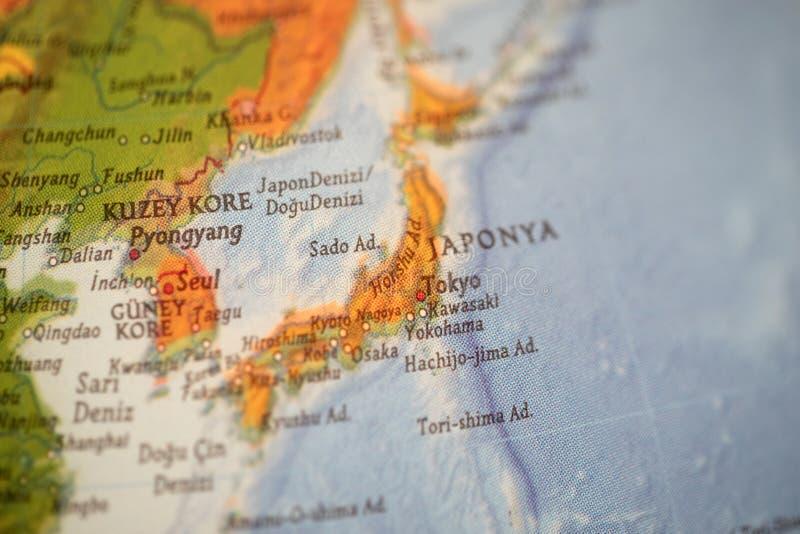 Japan and korea map. Close up view of turkish language japan map royalty free stock photography