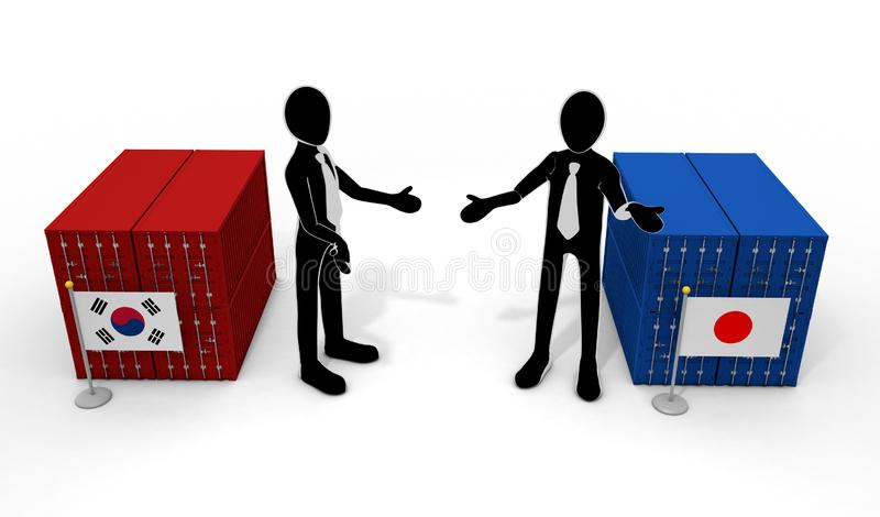 Japan-Korea talks country flags 3D illustration stock illustration
