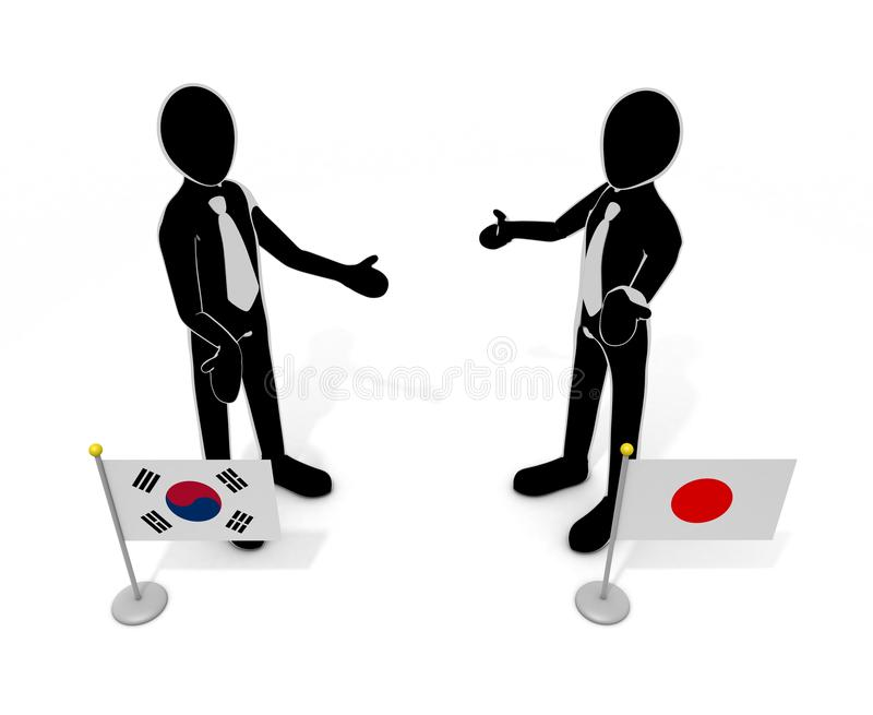 Japan-Korea talks country flags 3D illustration. Japanese flag. Korean flag. Japan and Korea. Demand issue. Trade issues. Talk of resolution. Import and export royalty free illustration