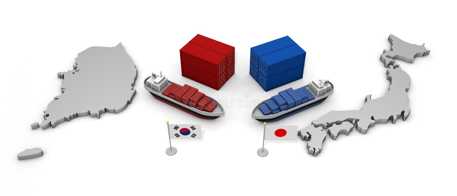 Japan and Korea Trade Problem 3D illustration. Japanese flag. Korean flag. Japan and Korea. Demand issue. Trade issues. Talk of resolution. Import and export stock illustration
