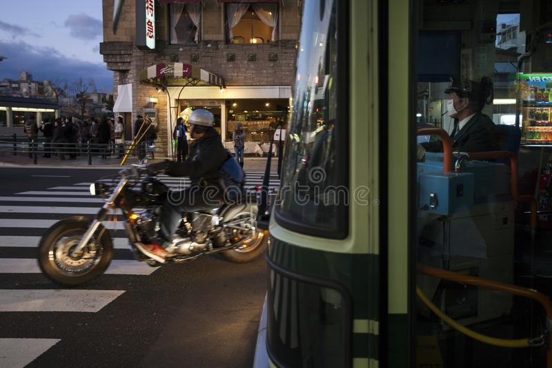 Japan - Kyoto - bus driver. Japan - Kyoto - a bus driver in a Gion neighborhood stock image