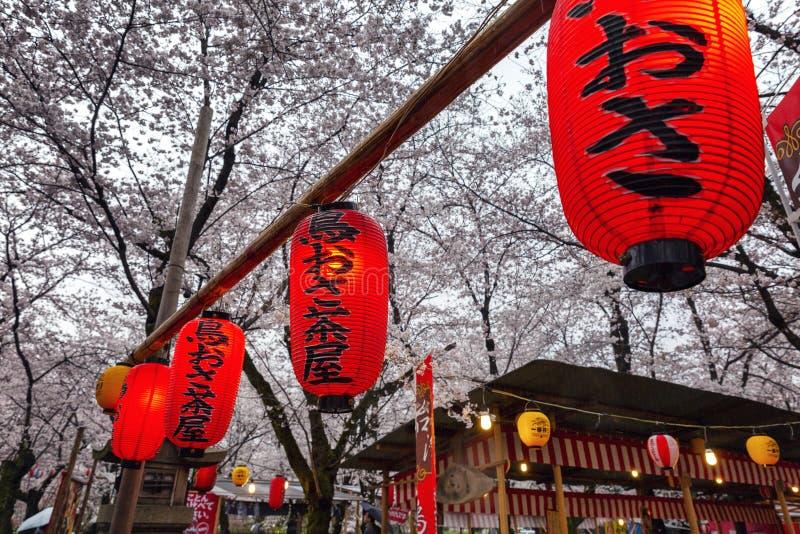 Japan, Kyoto, 04/07/2017 Hanamiviering in een Japans park royalty-vrije stock afbeelding