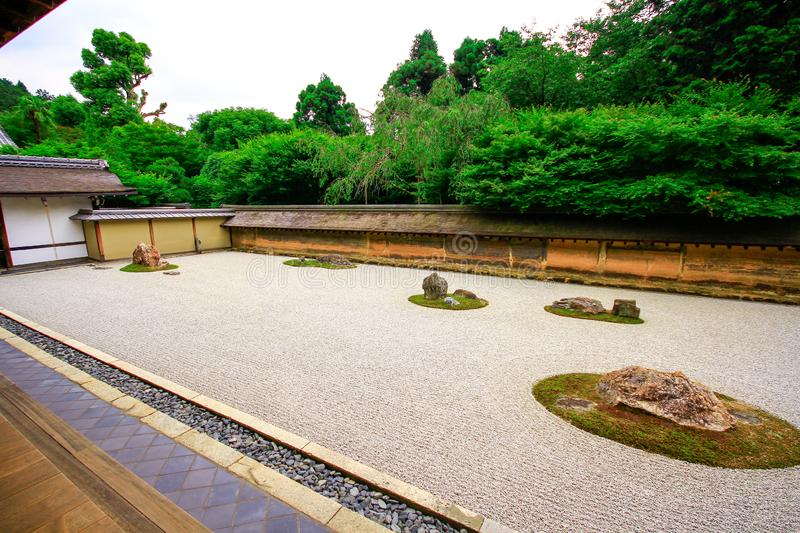 Japan Kyoto Ryan-ji kare-sansui zen garden World heritage. The Temple of the Dragon at Peace stock images