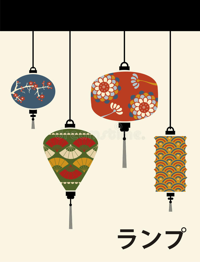 Japan lamps background vector illustration