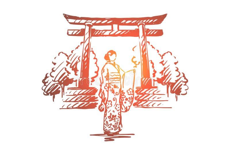 Japan, land, Sakura, traditioneel, het concept van Azië Hand getrokken geïsoleerde vector stock illustratie