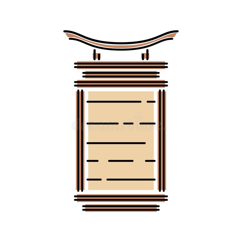 Japan landmark - temple, shrine, castle, pagoda, gate lamp vector illustration simplified color icon. Chinese, asian royalty free illustration