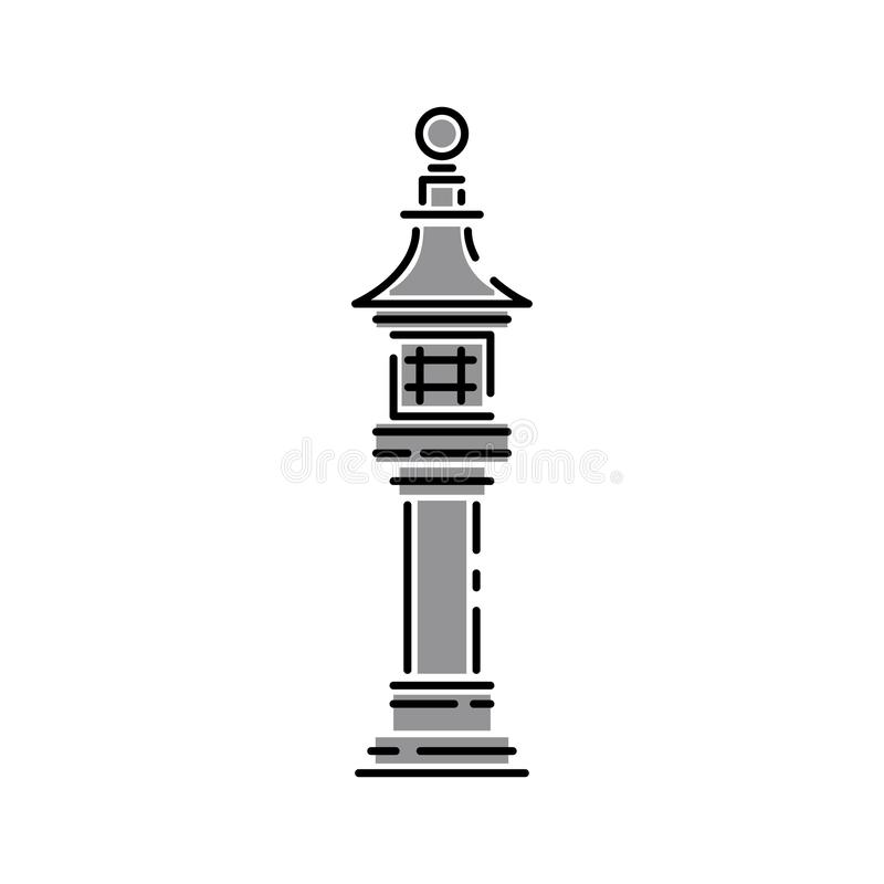 Japan landmark - temple, shrine, castle, pagoda, gate vector illustration simplified color icon. Chinese, asian royalty free illustration