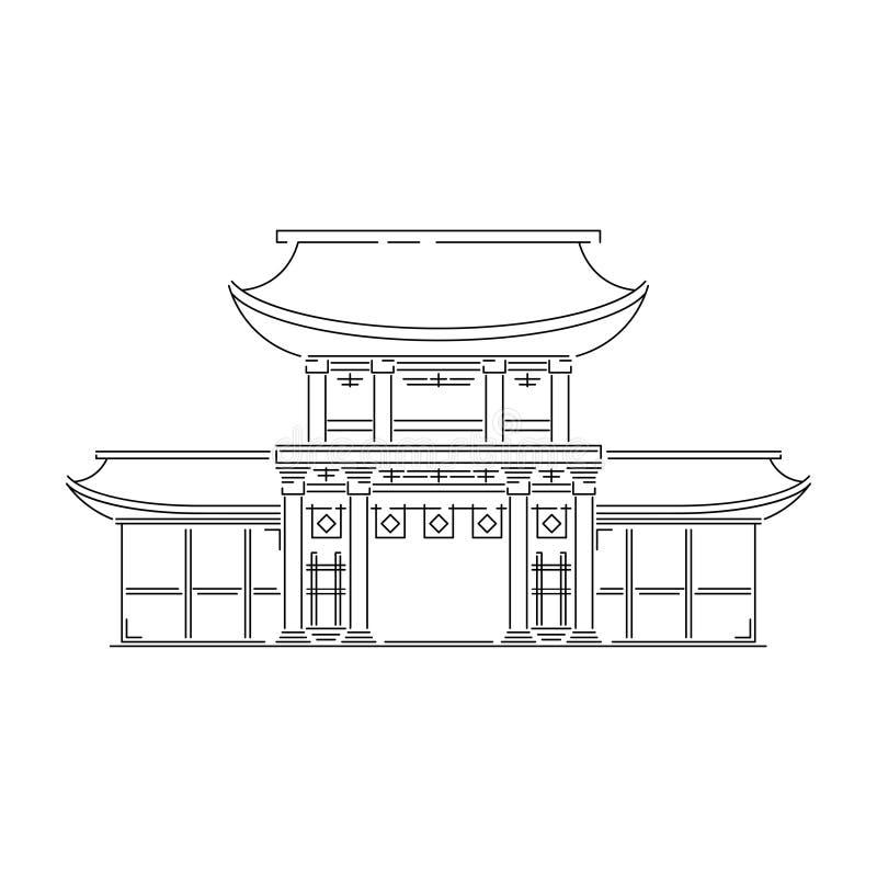Japan landmark - temple, shrine, castle, pagoda, gate vector illustration simplified travel icon. Chinese, asian stock illustration