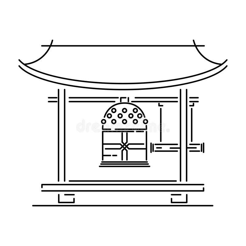 Japan landmark - temple, shrine, castle, pagoda, gate vector illustration simplified travel icon. Chinese, asian. Landscape traditional house. Ethnic symbol stock illustration