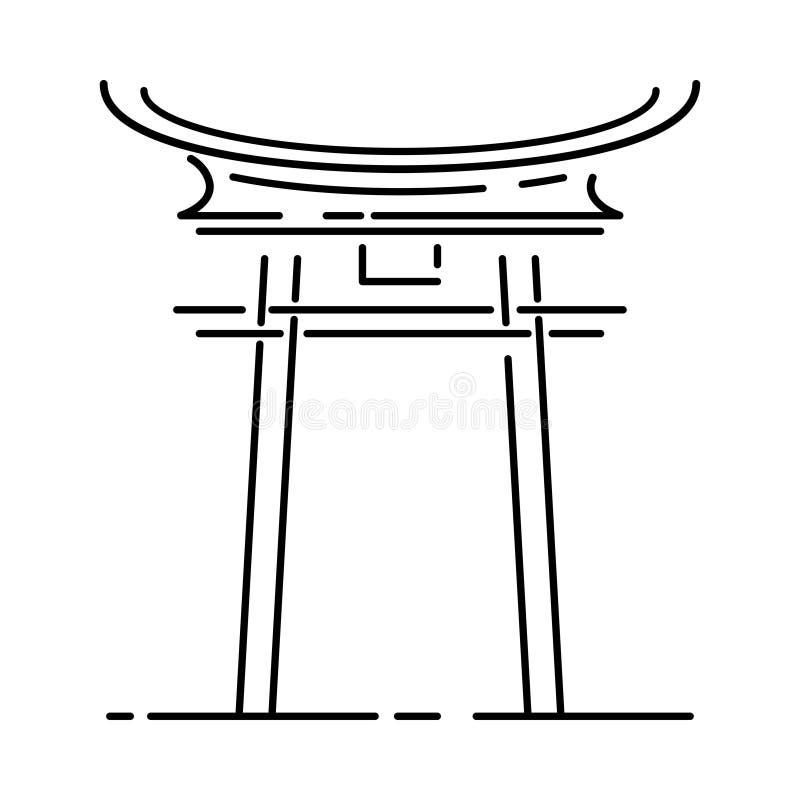 Japan landmark - temple, shrine, castle, pagoda, gate vector illustration simplified travel icon. Chinese, asian royalty free illustration