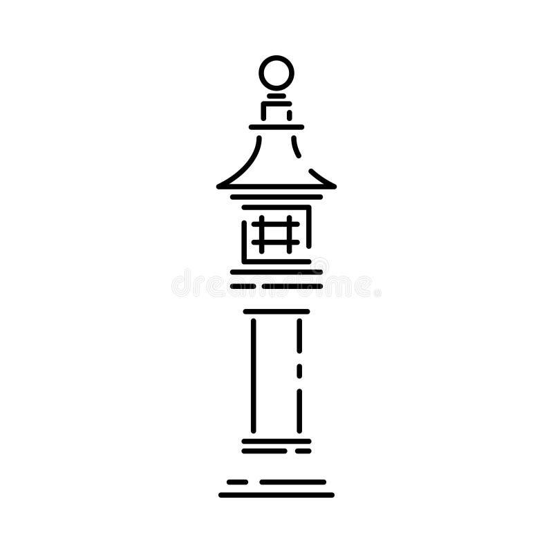 Japan landmark - temple, shrine, castle, pagoda, gate vector illustration simplified travel icon. Chinese, asian. Landscape traditional lantern. Ethnic symbol royalty free illustration
