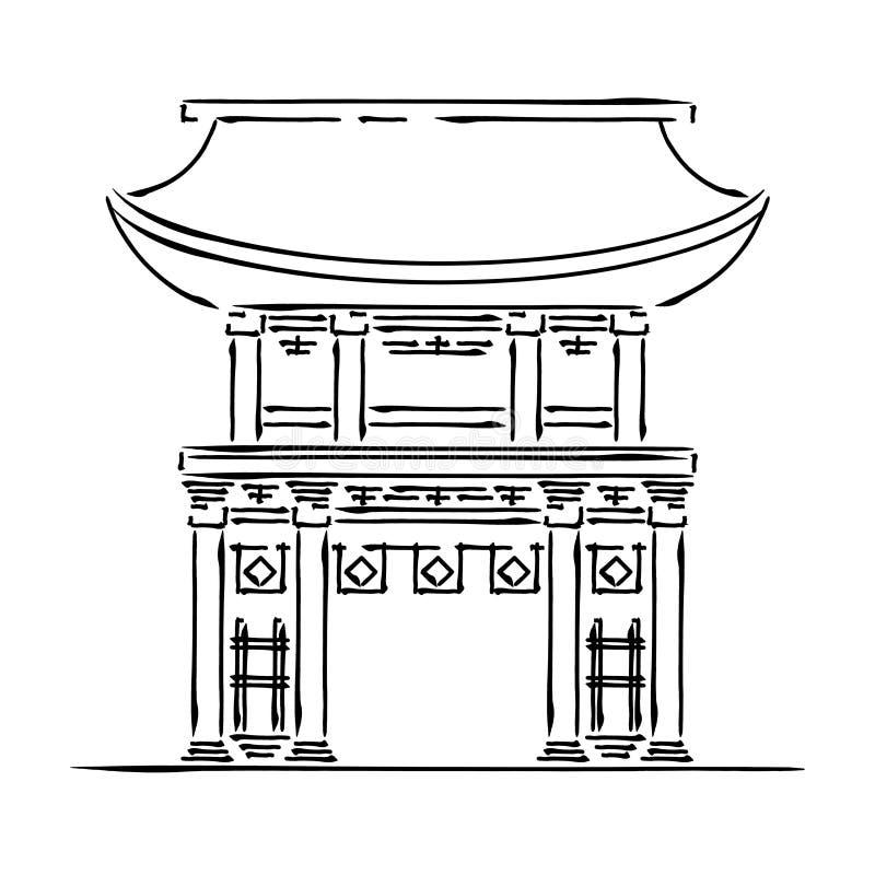 Japan landmark - temple, shrine, castle, pagoda, gate vector illustration simplified travel icon. Chinese, asian. Landscape traditional house. Ethnic symbol ink vector illustration