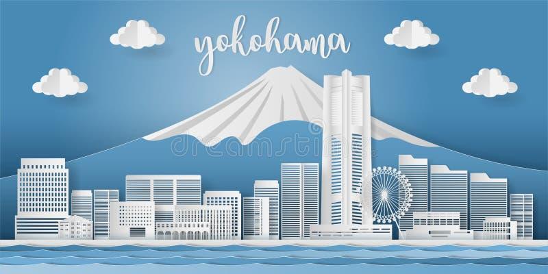Japan landmark travel banner, presentation with yokohama modern architecture city skyline. Paper cut vector illustration