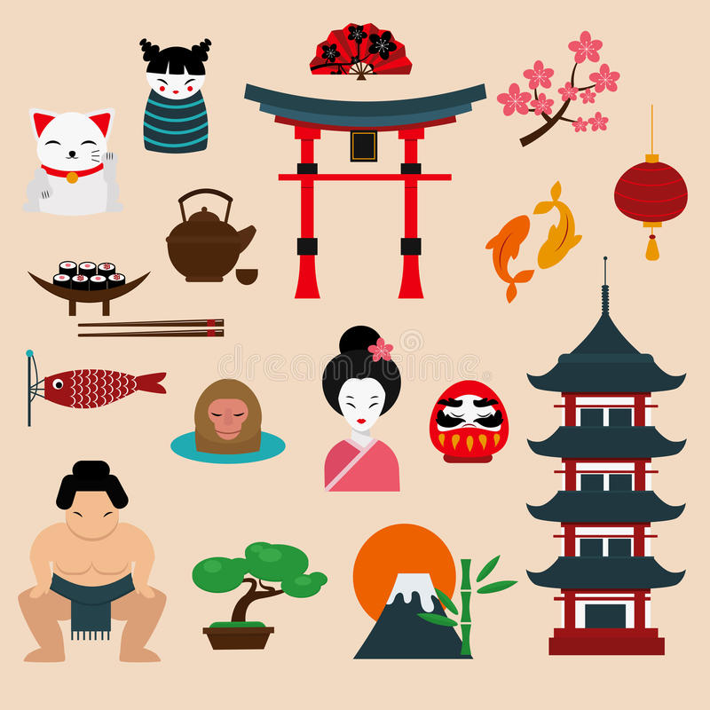 Japan landmark travel vector icons elements royalty free illustration