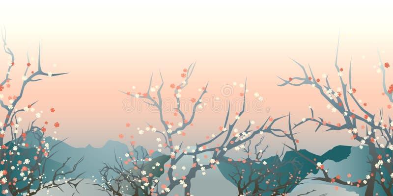 Japan landscape vector illustration