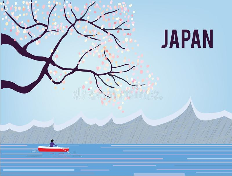 Japan landscape with sakura and water, tranquil scene, graphic illustration royalty free illustration