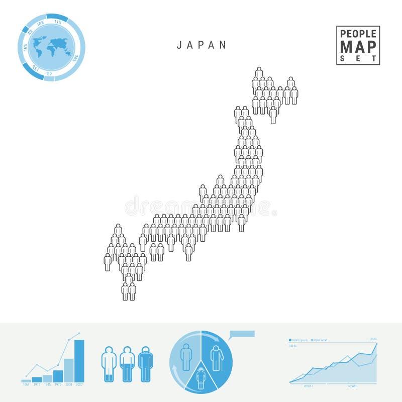 Japan-Leute-Ikonen-Karte Stilisiertes Vektor-Schattenbild von Japan Bevölkerungszuwachs und Altern Infographics lizenzfreie abbildung