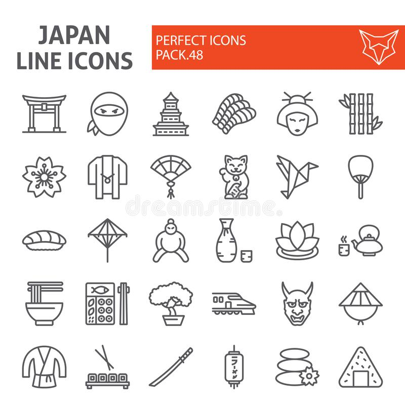Japan line icon set, japanese food symbols collection, vector sketches, logo illustrations, asian culture signs linear royalty free illustration