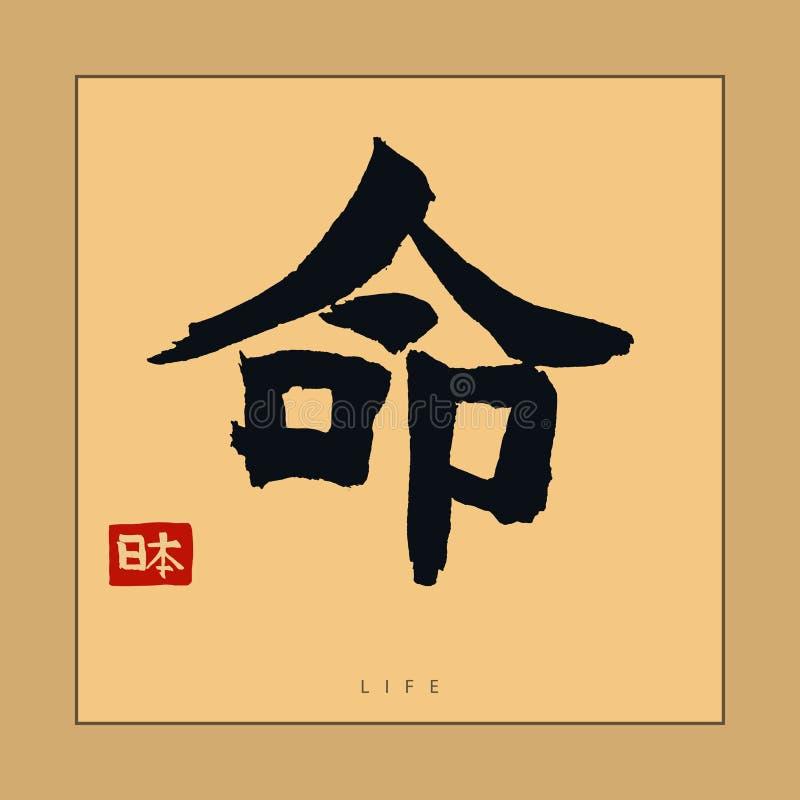 Japan livhieroglyf, hand dragen japansk kalligrafi vektor royaltyfri illustrationer