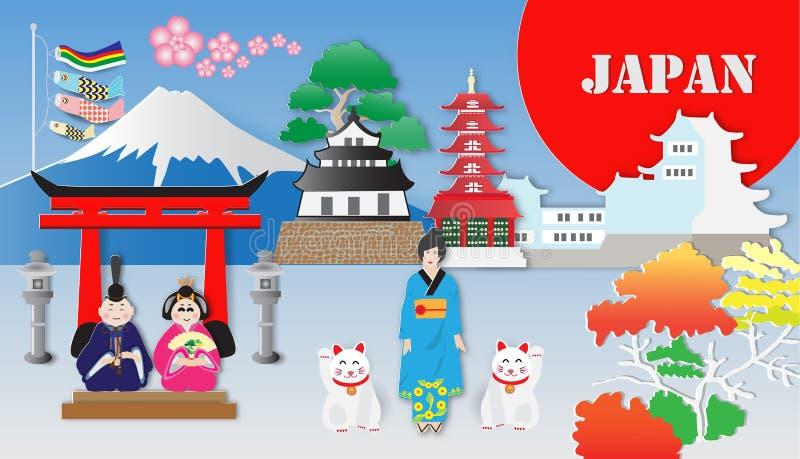 Japan lopp och mest berömda gränsmärken, vektorillustration royaltyfri illustrationer