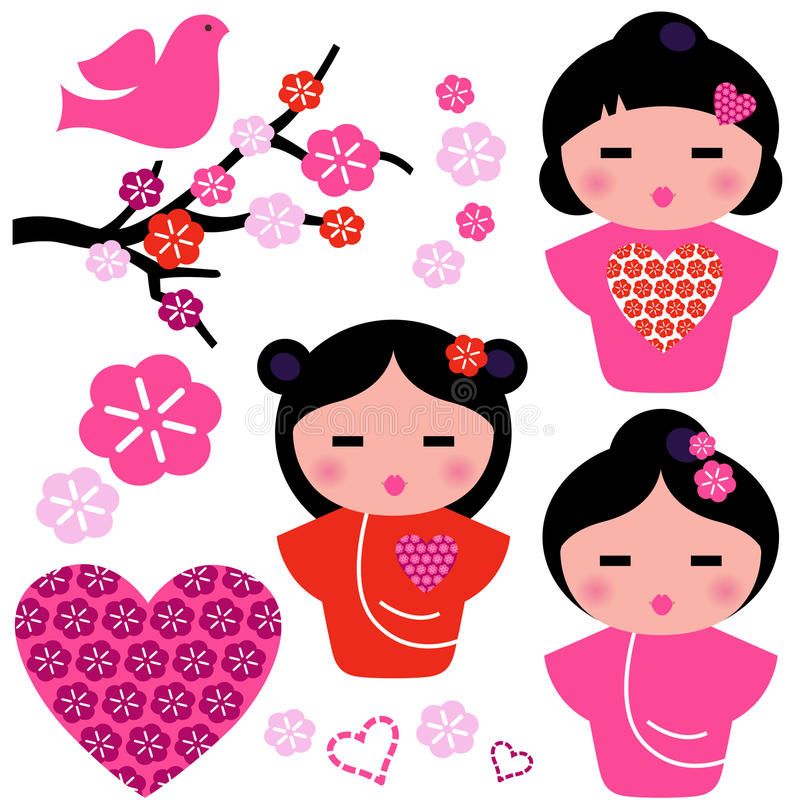 Japan Love Geisha And Floral Elements Set Stock Photography