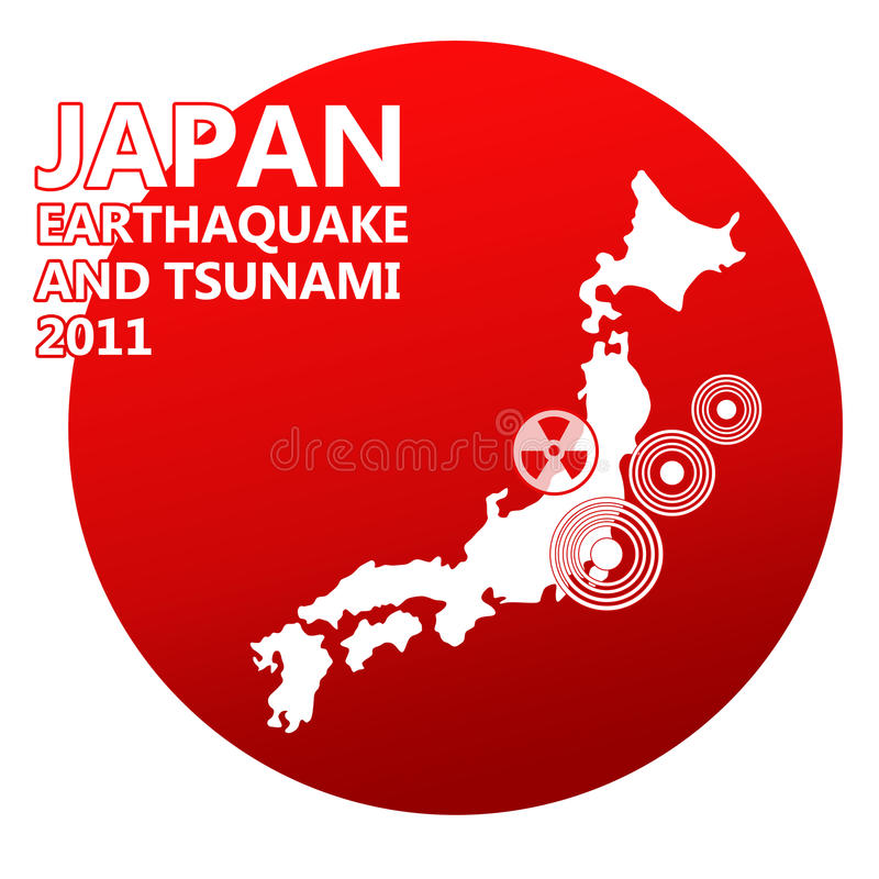 Japan man illustration with danger on nuclear powe vector illustration