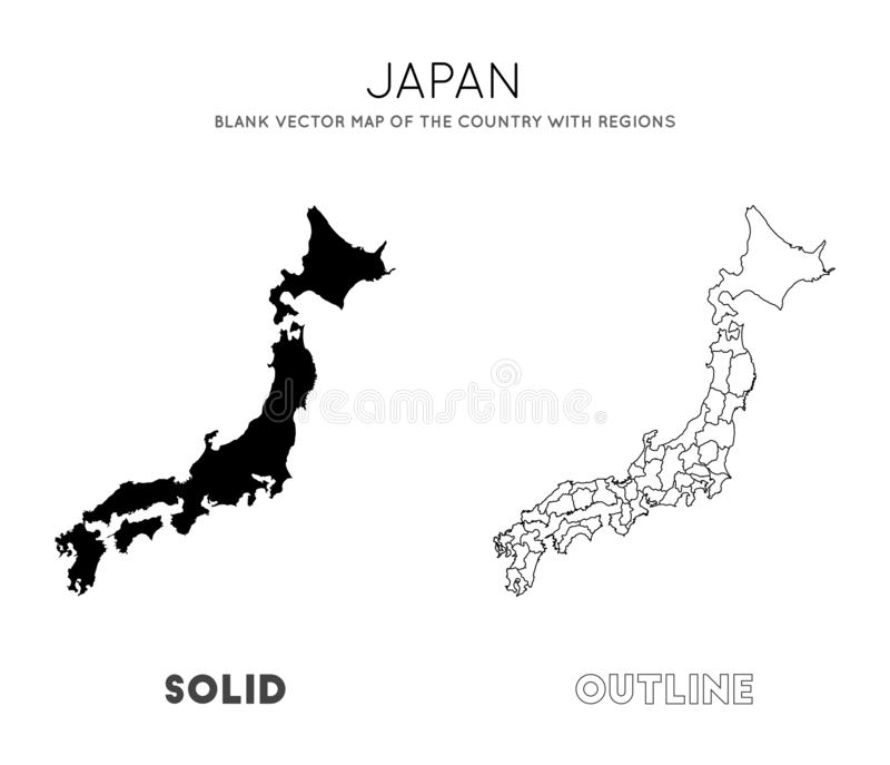 Map Of Japan, A Blank Map, An Outline Map Stock Illustration ...