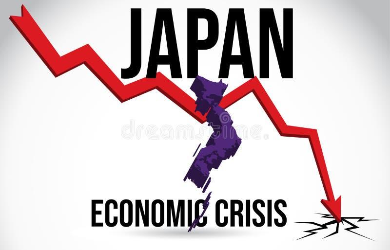 Japan Map Financial Crisis Economic Collapse Market Crash Global Meltdown Vector. Illustration royalty free illustration