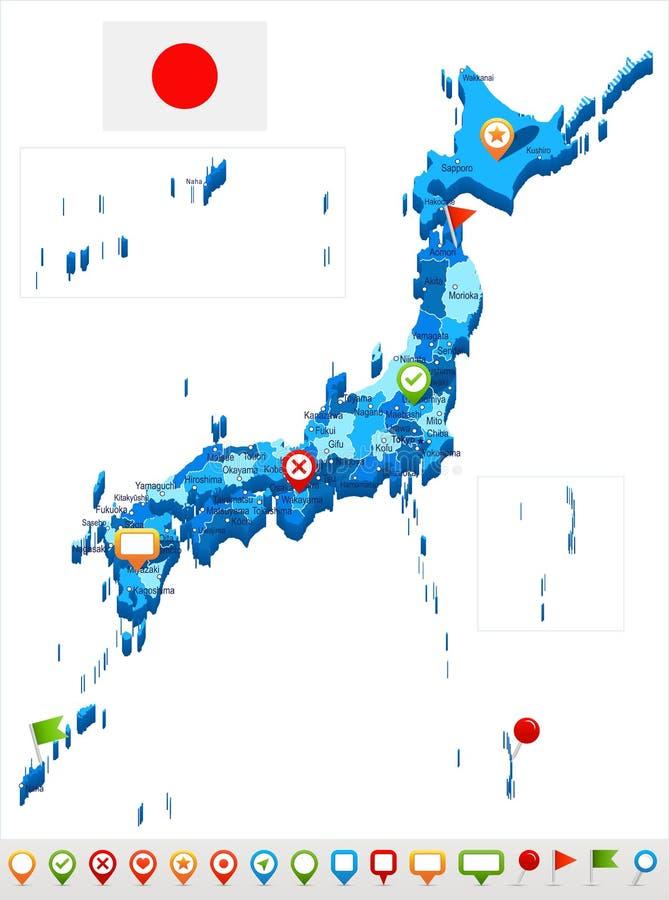 Japan Map And Flag Illustration Stock Illustration