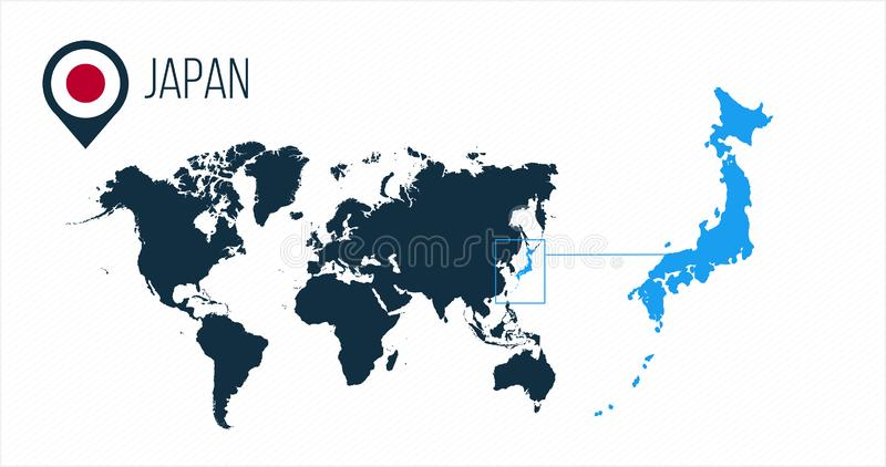 Japan map located on a world map with flag and map pointer or pin. Infographic map. Vector illustration isolated on white vector illustration