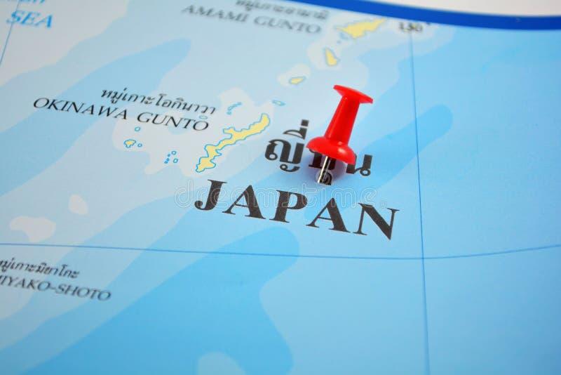 Japan map. Macro shot of japan map with push pin royalty free stock photo